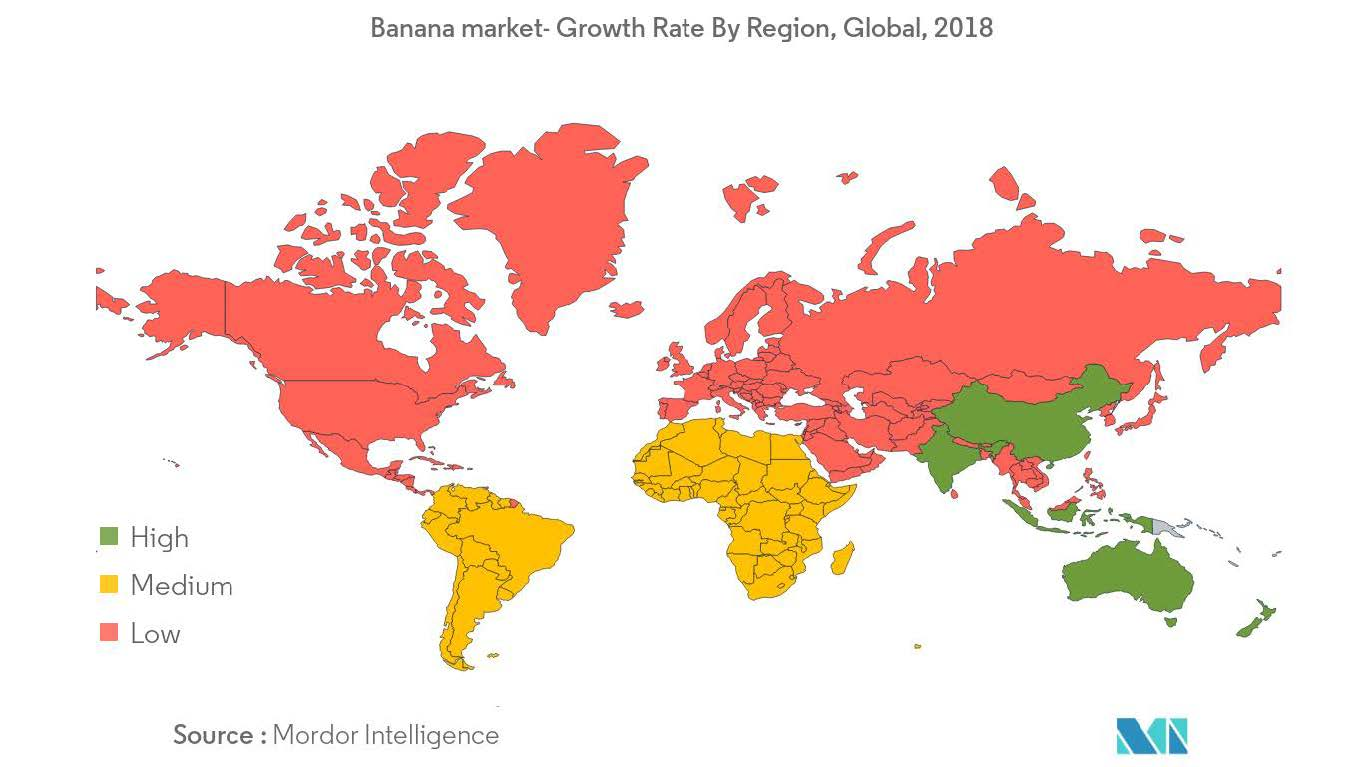 Banana market - growth rate by region, global 2018